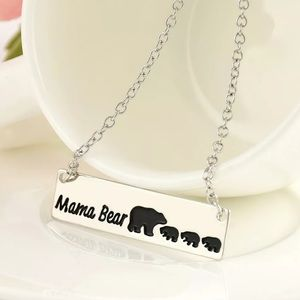 Mama Bear Silver Bar Necklace